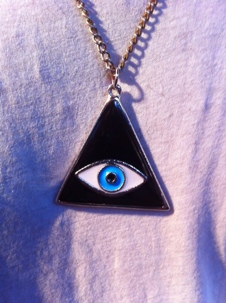 necklace eye black gold blue jewels black jewels jewels