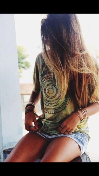 shirt yellow boho circle