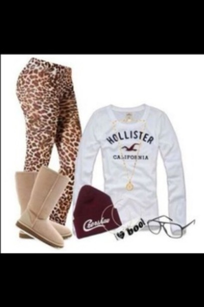hat cheata hollister brown cute back to school leggings pants
