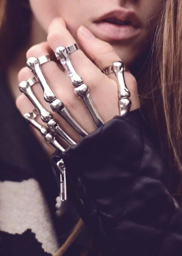 Jewels: gothic bracelet goth skull hand jewelry bracelets grunge hand set skeleton skeleton hand