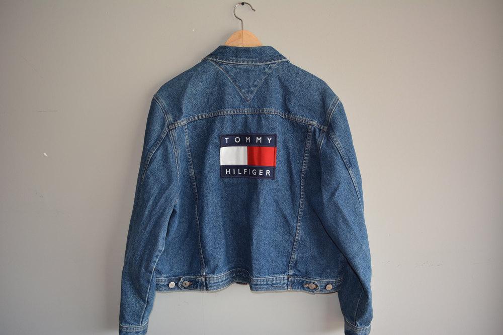 vintage rare flag 90s tommy hilfiger denim jacket unisex. Black Bedroom Furniture Sets. Home Design Ideas