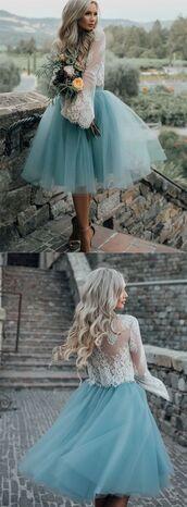 dress,blue prom dress,side-zipper prom dresses,long sleeve prom dress,bateau prom dresses,lace prom dresses,knee-length prom dresses,a line prom dresses