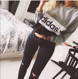 sweater adidas jeans adidas sweater black sweater grey sweater hoodie sweatshirt grey black white vintage grunge hipster shirt grey and black adidas sweater addidas sweater