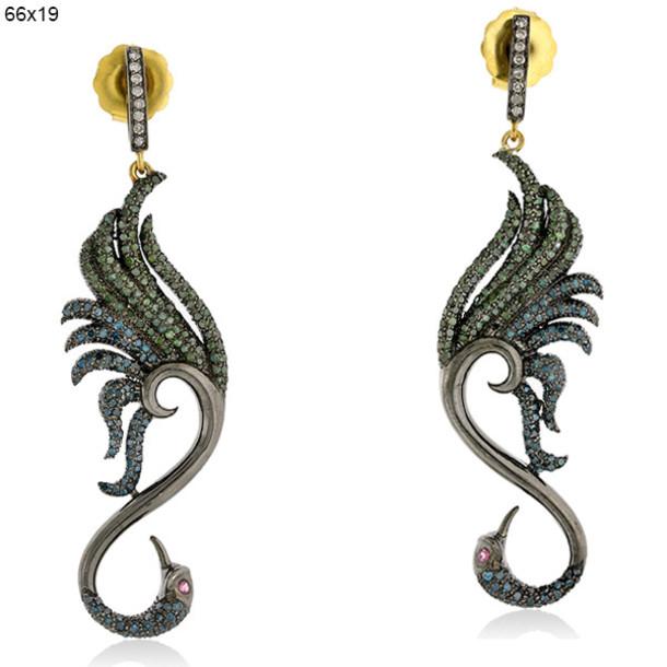 jewels diamond earrings gold earrings peacock earrings diamond
