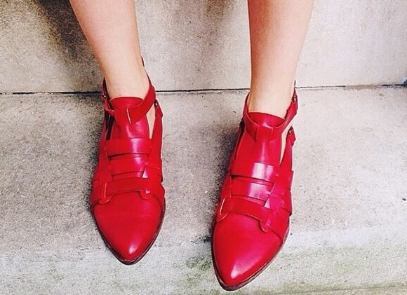 shoes straps red leather pointed toe