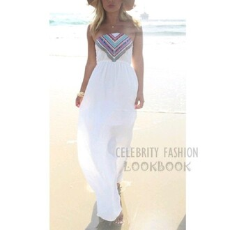 dress celebrity fashion lookbook tribal print dress beach dress maxi dress summer beach stylish strapless