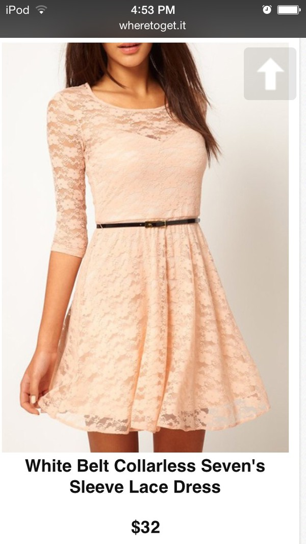 light pink short dress cute dress hot dress sexy dress dress belted dress peach dress lace dress