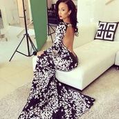 dress,black and white,floral,floral dress,backless dress,maxi dress,draya michele,fishtail dress,lowback dress,prom,long prom dress