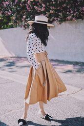 shirt,hat,tumblr,polka dots,sun hat,skirt,midi skirt,nude skirt,shoes,pointed flats,flats,bow flats