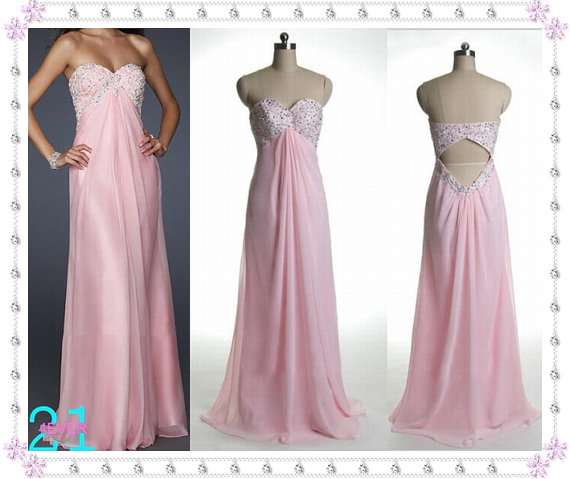 Pink prom dress lace top prom dress empire lace beaded by 214ever