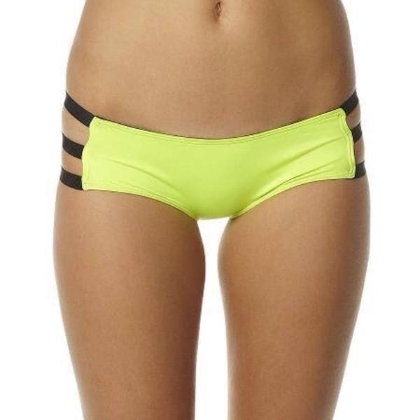 swimwear yellow straps bottoms bikini fluo fluro yellow pretty sexy hot cute beautiful swimwear bikini bottoms