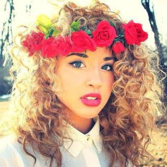 jewels flowers red rose make-up jadah doll makeup jadah doll pink lipstick flower crown hair accessory white shirt curly hair