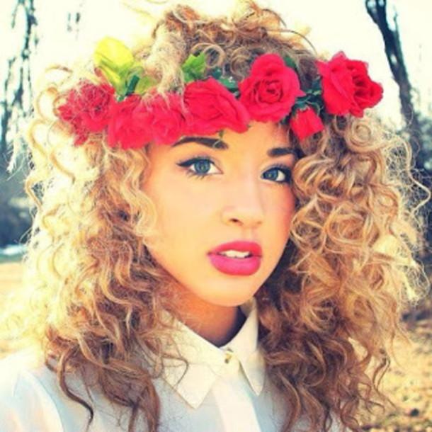 jewels flowers red rose make-up Jadah Doll makeup jadah doll pink lipstick flower  crown e3fb364b772
