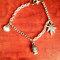 Sale! buddha charm/ weed leaf silver chain charm bracelet