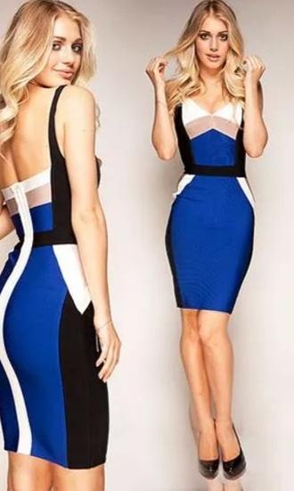 cobolt blue beige monochrome bandage dress