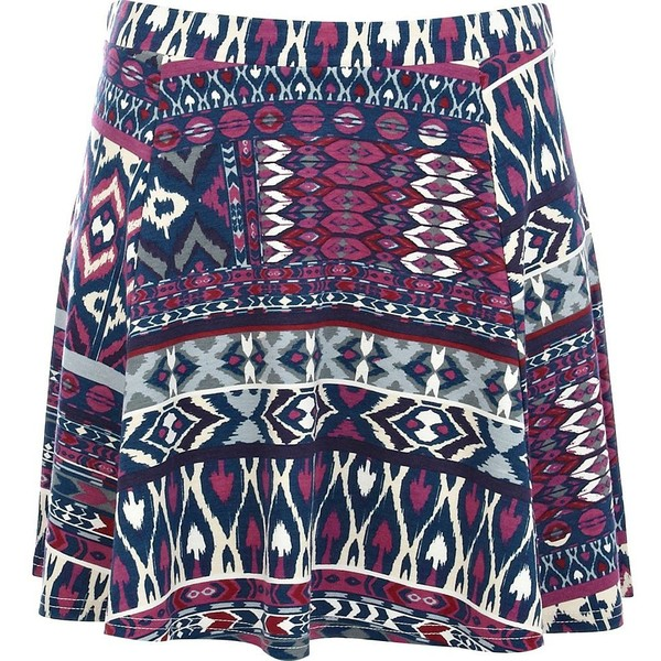 River island purple aztec print skater skirt