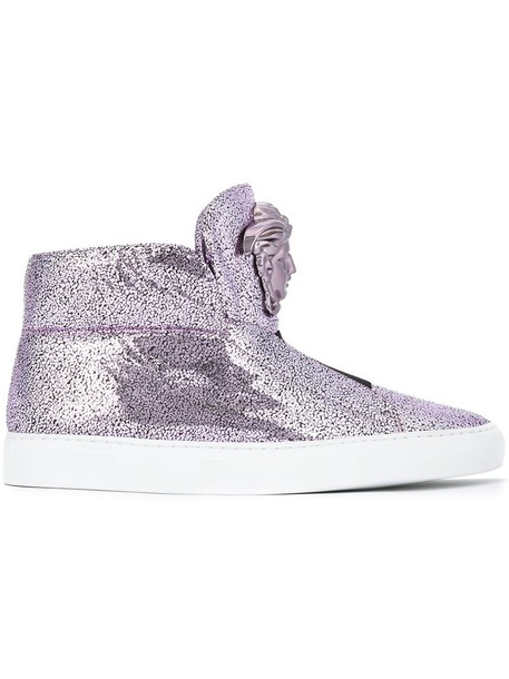 VERSACE women sneakers leather purple pink shoes