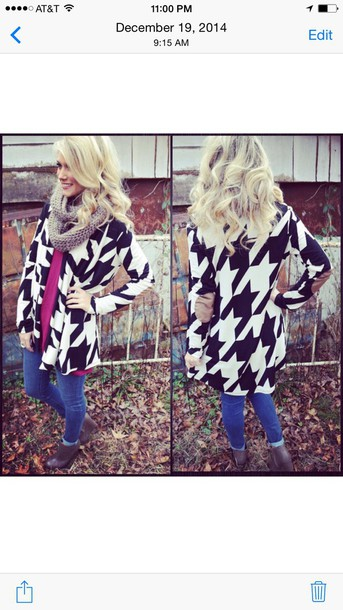 cardigan houndstooth