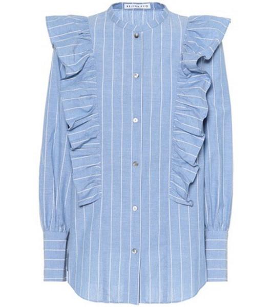 Rejina Pyo Isla cotton and linen shirt in blue