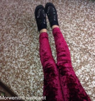 jeans grunge burgundy leggings velvet rock