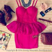 dress,pink,hot pink,sexy,cute,tutu dress