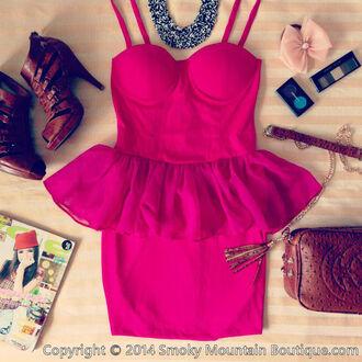 dress pink hot pink sexy cute tutu dress