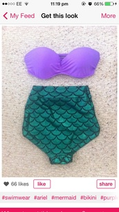 swimwear,ariel little mermaid bikini purple green scales