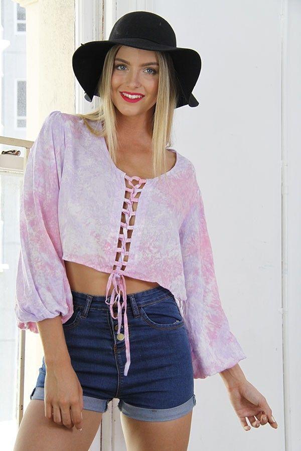 top pink top pink crop hand dyed front tie top boho www.ustrendy.com