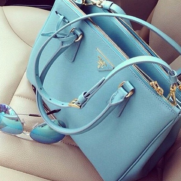 prada replica bags - prada galleria bag black/light blue