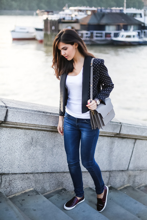 the golden diamonds blogger jacket top jeans bag jewels
