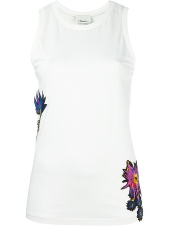 tank top top embroidered women spandex floral white cotton silk