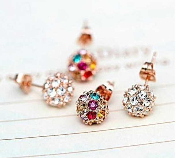jewels earrings valentine's gift jewelry gold earrings bling crystal rhinestones