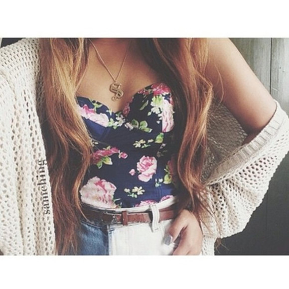 shirt jewelry blue sweater pink flower tube top belt