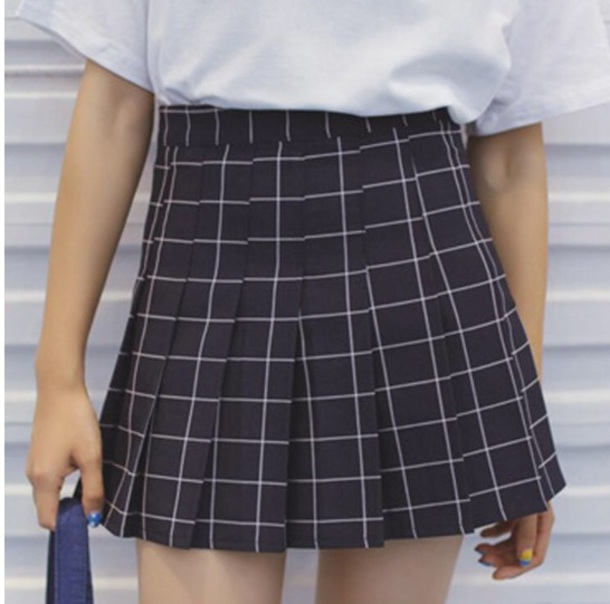 skirt girly mini mini skirt checkered grid pleated pleated skirt