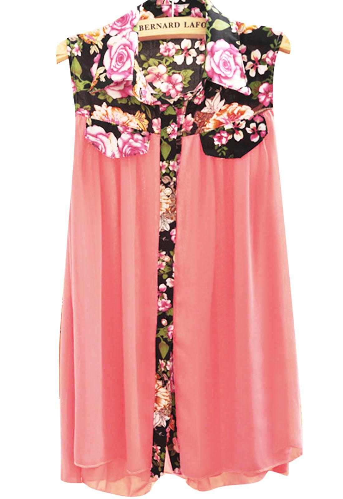 Zanzea® Women Fashion Loose Floral Chiffon Sleeveless Blouse - CA$10.51