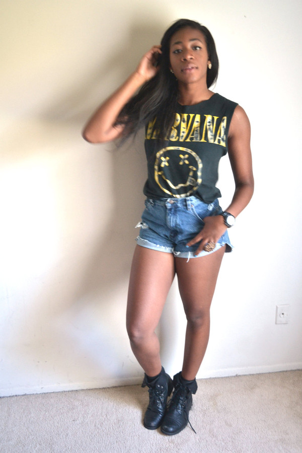 shirt High waisted shorts cute lovely nirvana t-shirt