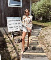 shorts,white shorts,top,slide shoes,shirt dress,floral top,sunglasses