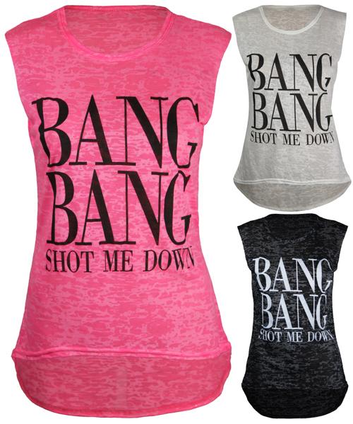 Ladies new bang slogan print long vest womens dip hem sleeveless tshirt top 8