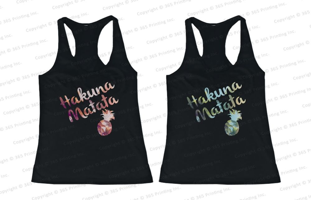 Best Friend Matching Summer Beach Tank Tops Hakuna Matata Pineapple for BFF | eBay