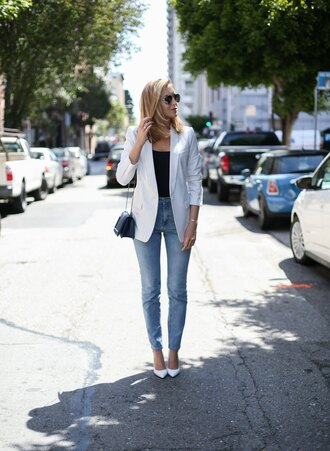the classy cubicle blogger jacket jeans tank top shoes bag jewels