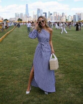 dress tumblr one shoulder slit dress gingham bag basket bag sunglasses white sunglasses shoes white shoes gingham dresses