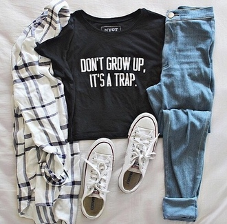 t-shirt black trap grunge quote on it hipster blouse