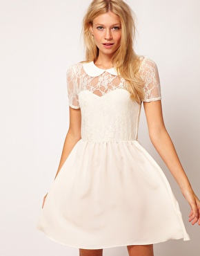 ASOS | ASOS Lace Shirt Dress With Peterpan Collar at ASOS