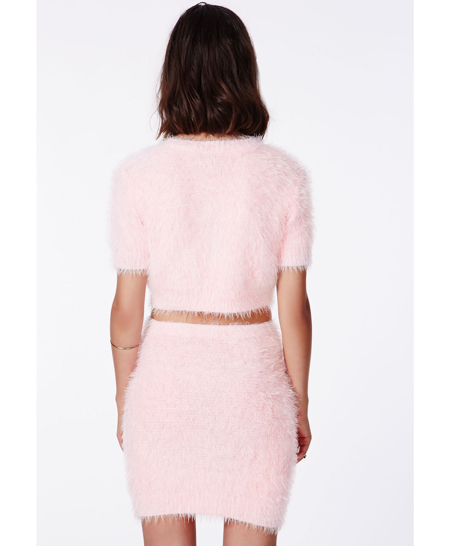 Alycia Fluffy Knit Cropped Jumper Baby Pink