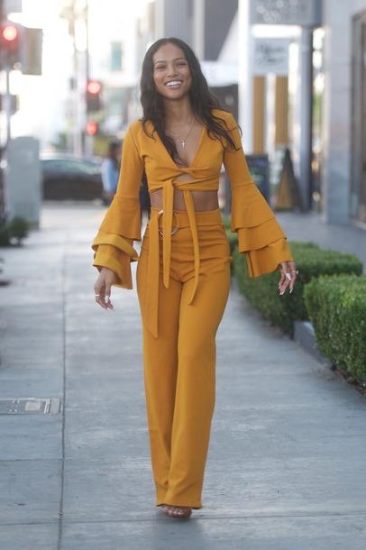 blouse top crop tops pants orange karrueche monochrome high waisted