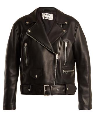 jacket biker jacket oversized leather black