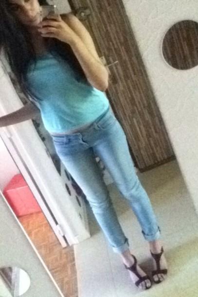 jeans blue denim boyfriend jeans fashion summer docker beautiful sandals black celebrity style