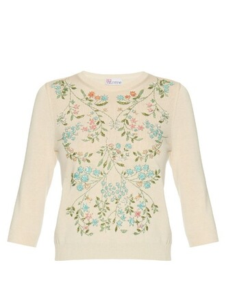 sweater embellished floral cotton