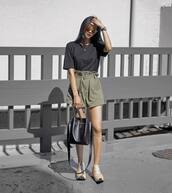 t-shirt,black t-shirt,shorts,top,shoes,bag,sunglasses