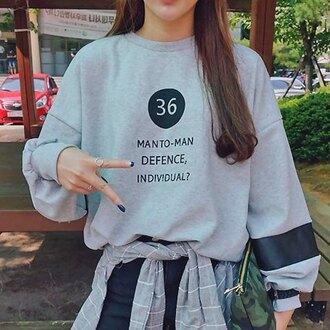 sweater grey casual fashion style quote on it sweatshirt sportswear back to school